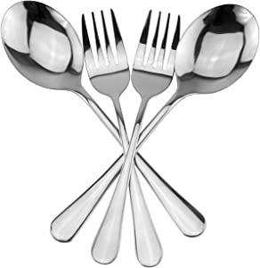 Serving Spoons & Large Serving Forks Set (4 pack, 2 of each); Buffet & Banquet Style Elegant Classic Serving Utensils, Durable Stainless Steel w/Mirrored Finish (4-piece set)