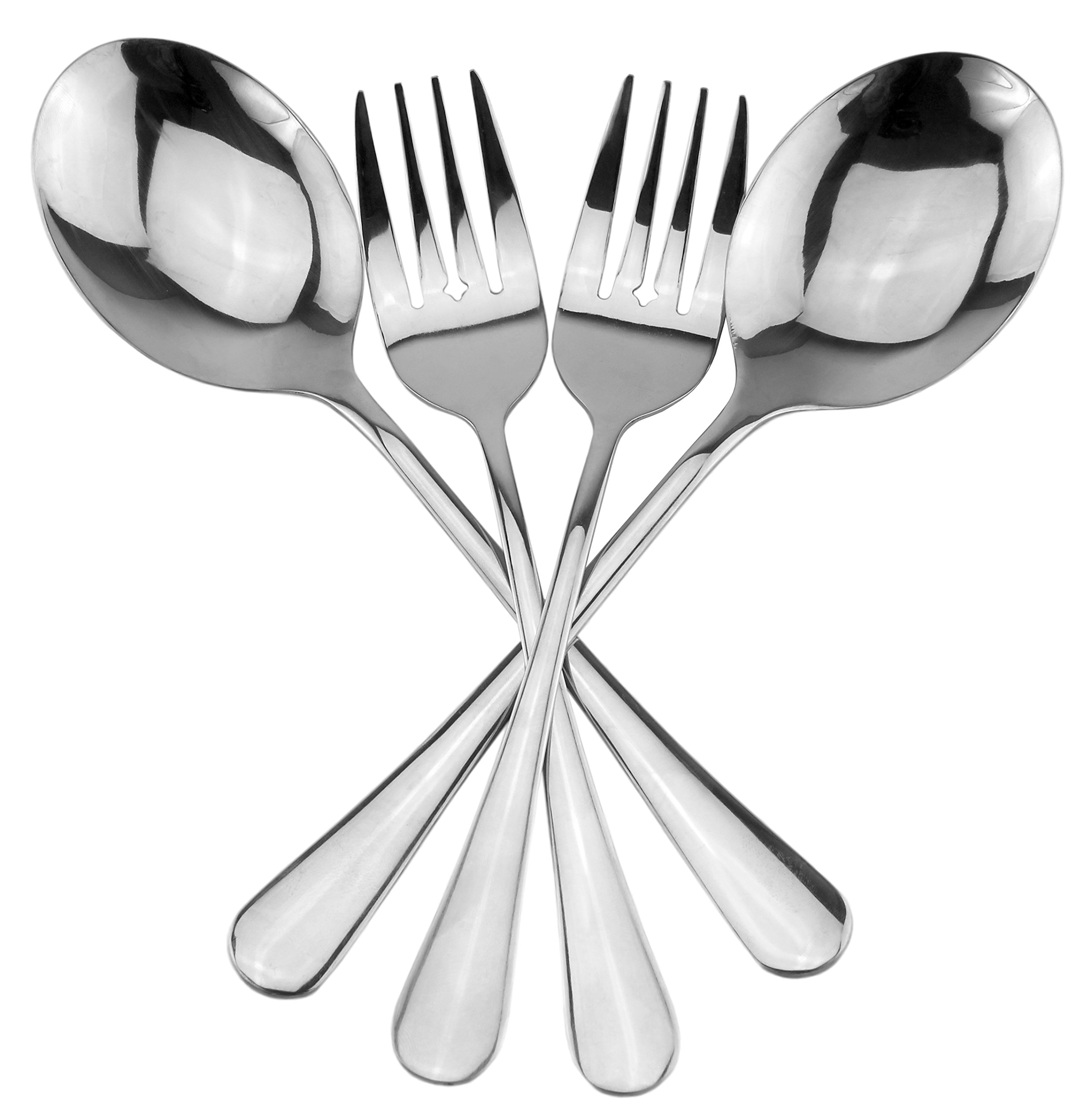 Serving Spoons & Large Serving Forks Set (4 pack, 2 of each); Buffet & Banquet Style Elegant Classic Serving Utensils, Durable Stainless Steel w/Mirrored Finish (4-piece set) by Cornucopia Brands