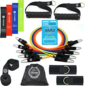 Tribe Resistance Bands Set, Exercise Bands for Working Out - Includes Stackable Workout Bands, Handles, Ankle Straps, Door Anchor, Carry Bag & Advanced eBook