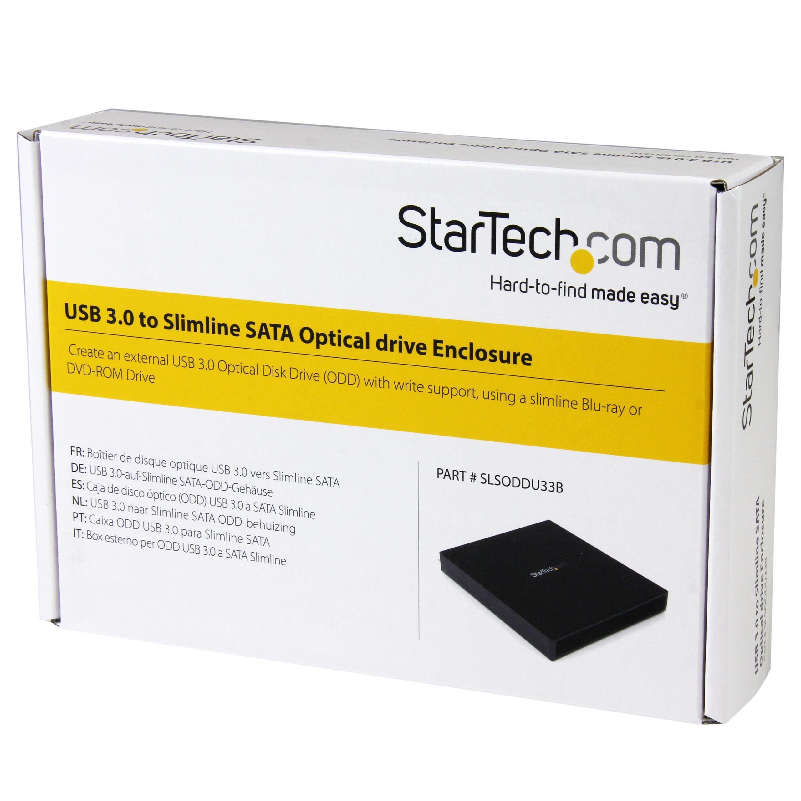 USB 3.0 to Slimline SATA ODD Enclosure for Blu-ray & DVD ROM Drives - Portable Optical Disk Drive Enclosure - Solid Aluminum