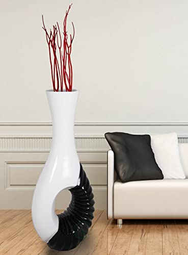 Modern Black and White Large Floor Vase