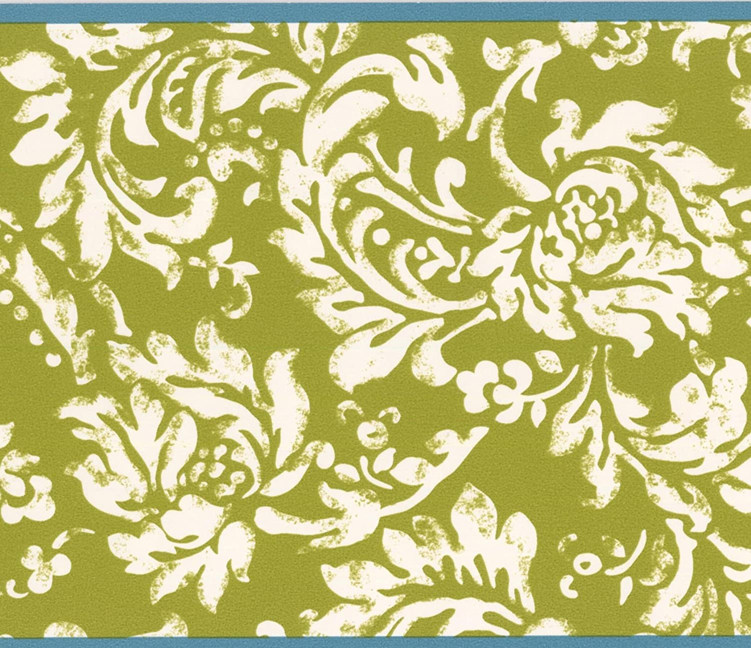 Modern White Floral Pattern Mustard Yellow Damask Wallpaper Border