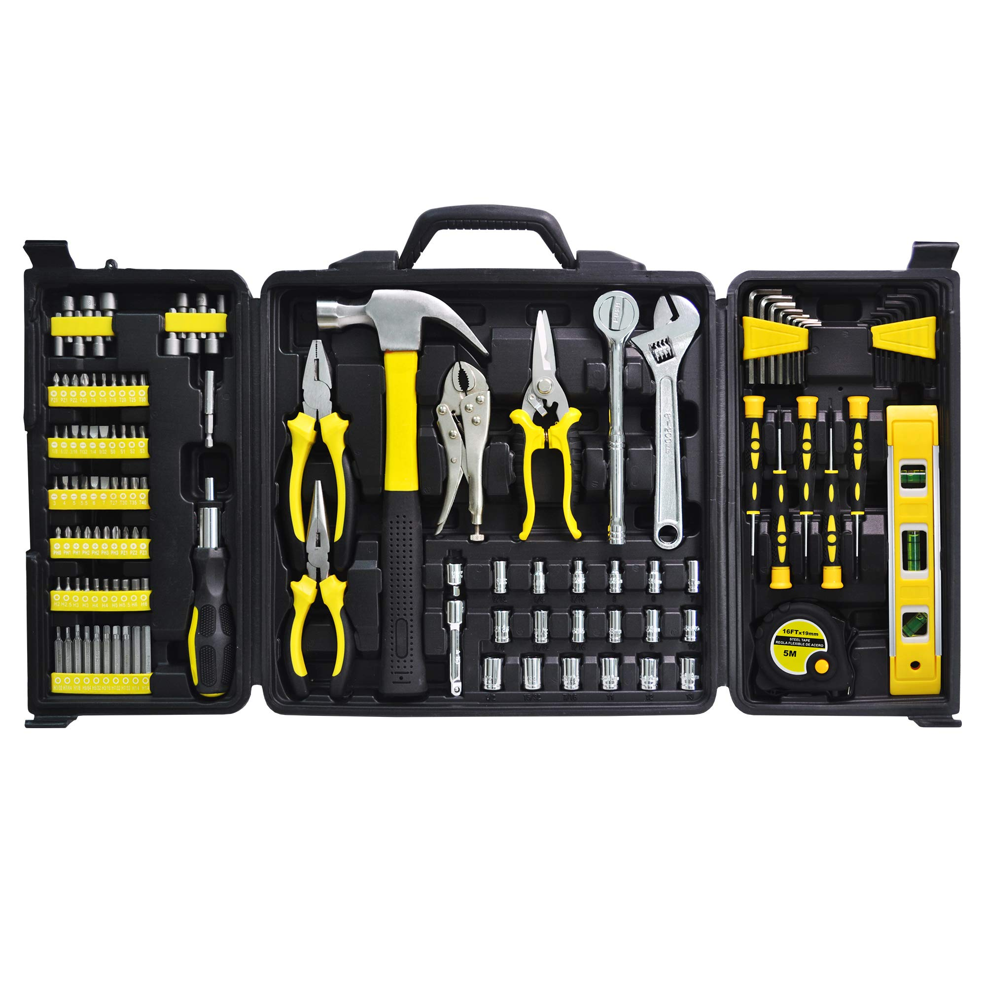 Hand Tool Set, Longmate 124pcs Tool Kits Genaral Mechanic Tool Set with Plastic Storage Case