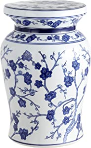 "Jonathan Y TBL1016A Cherry Blossom 17.7"" Ceramic Garden Stool, White/Blue"