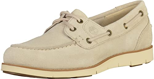 Timberland Classic Leather, Mocasines para Mujer, Blanco (Rainy Day Suede), 37 EU