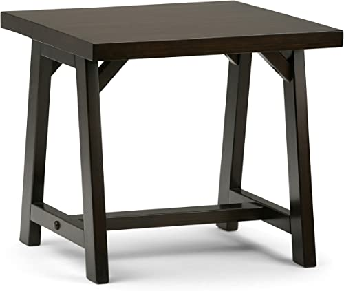 SIMPLIHOME Sawhorse SOLID WOOD 22 inch wide Square Modern Industrial End Side Table