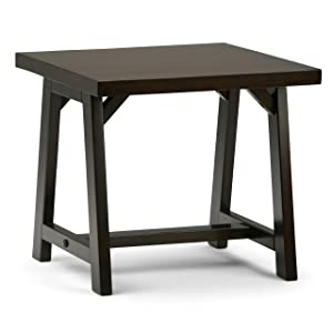Simpli Home 3AXCSAW-02-BR Sawhorse Solid Wood 22 inch wide Square Modern Industrial Modern Industrial End Side Table in Dark Chestnut Brown