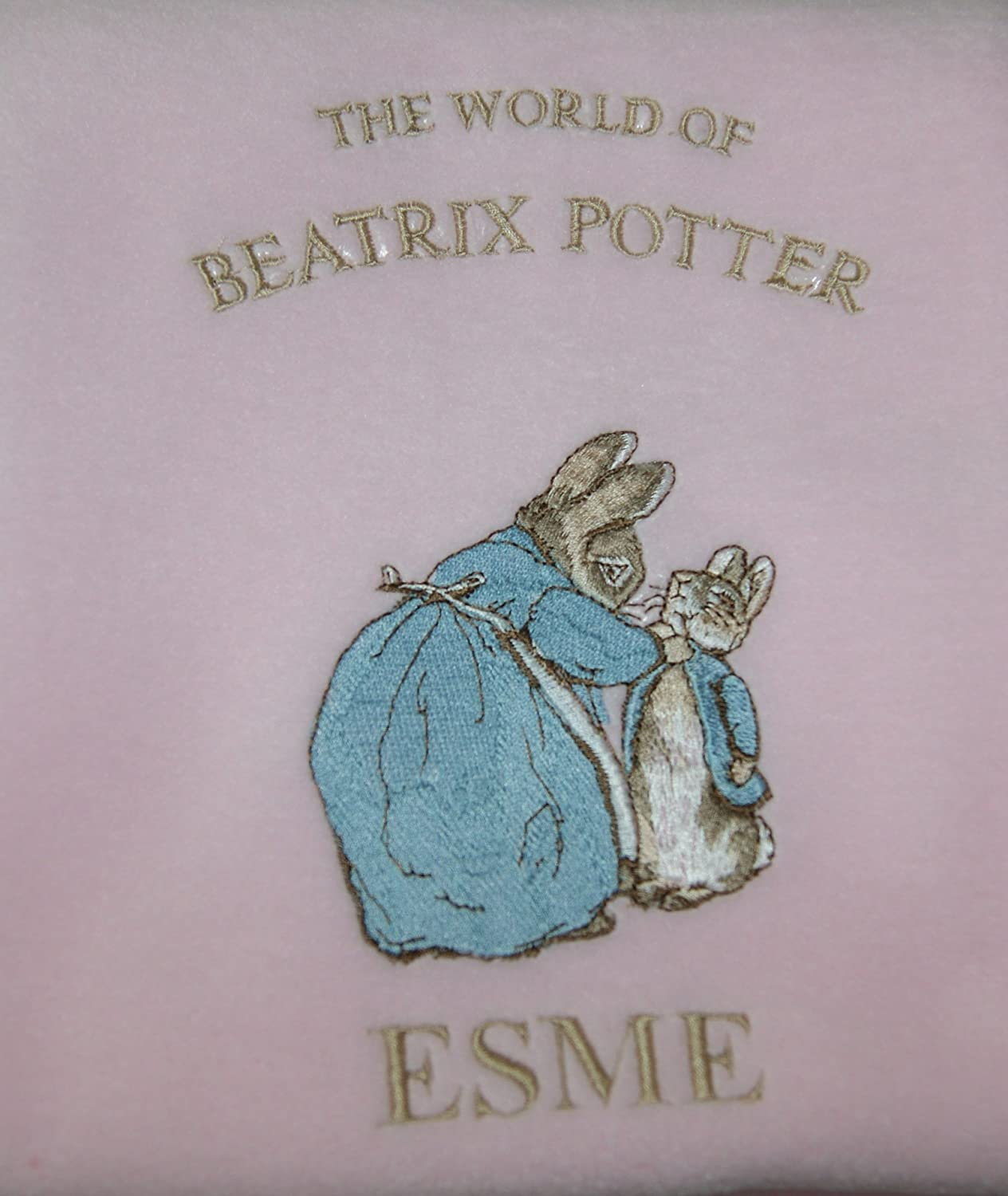Girls Personalised Peter The Rabbit Baby Super Soft Fleece Blanket. (Pink) Sew Sew Special