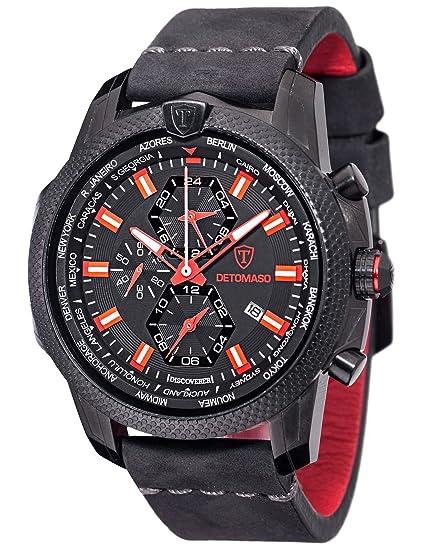 DeTomaso Discoverer XXL - Reloj de Cuarzo para Hombres, con Correa de Cuero de Color Negro, Esfera Negro y Rojo: Amazon.es: Relojes