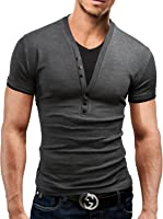 Benibos Mens Henley T-Shirts With Short Sleeve