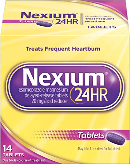 Amazon Com Nexium 24hr Delayed Release Heartburn Relief Tablets Esomeprazole Magnesium Acid Reducer 20 Mg 14 Count Health Personal Care