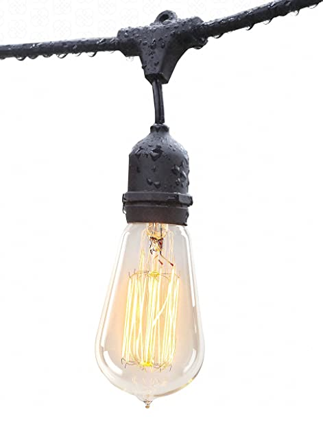 Amazon outdoor string lights with vintage edison bulbs 14 gauge outdoor string lights with vintage edison bulbs 14 gauge 48 feet long 15 bulbs commercial mozeypictures Image collections