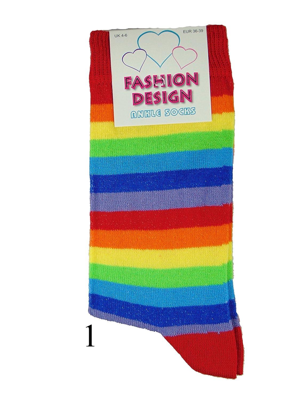 Rainbow Striped Ankle Socks Bright Stripes Ladies Girls Multicoloured Pride 4-6