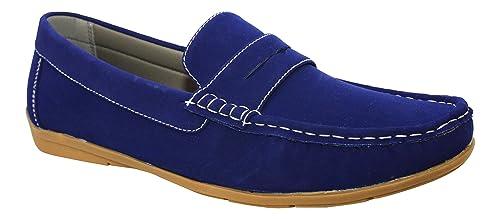 Erven Mocasines de ante para hombre, Azul (azul), 44: Amazon.es: Zapatos y complementos