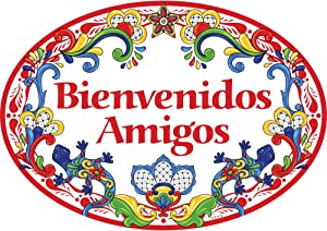 Essence of Europe Gifts E.H.G Bienvenidos Amigos Latino Traditional Geckos Artwork Spanish Welcome Friends 11x8 Ceramic Door Sign by E.H.G.