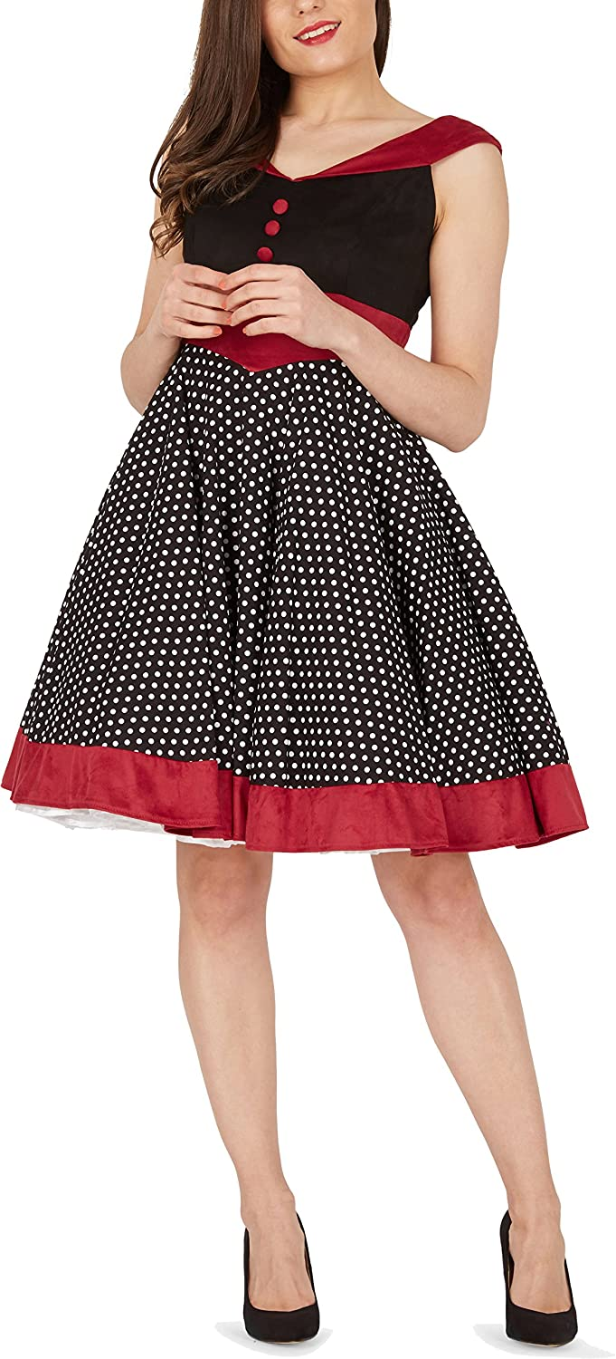 BlackButterfly Sylvia Polka Dot Vintage Rockabilly Swing Pin Up Dress: Amazon.co.uk: Clothing