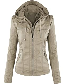 396874830 Seamido Women Faux PU Leather Jacket Removable Hoooded Motocycle ...