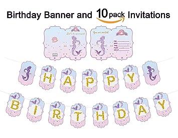 amazon com mermaid happy birthday banner and 10pcs mermaid party