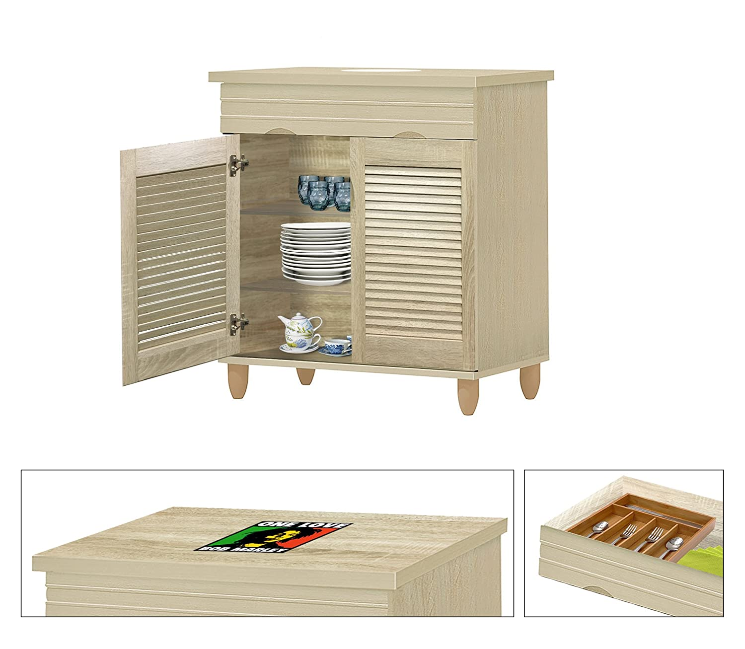 NEW! Kitchen Buffet Hutch with Drawer in a Beige Whitewash Finish Featuring the Choice of Your Favorite Novelty Themed Logo Decal-KITCHENWARE NOT INCLUDED (Bob Marley)