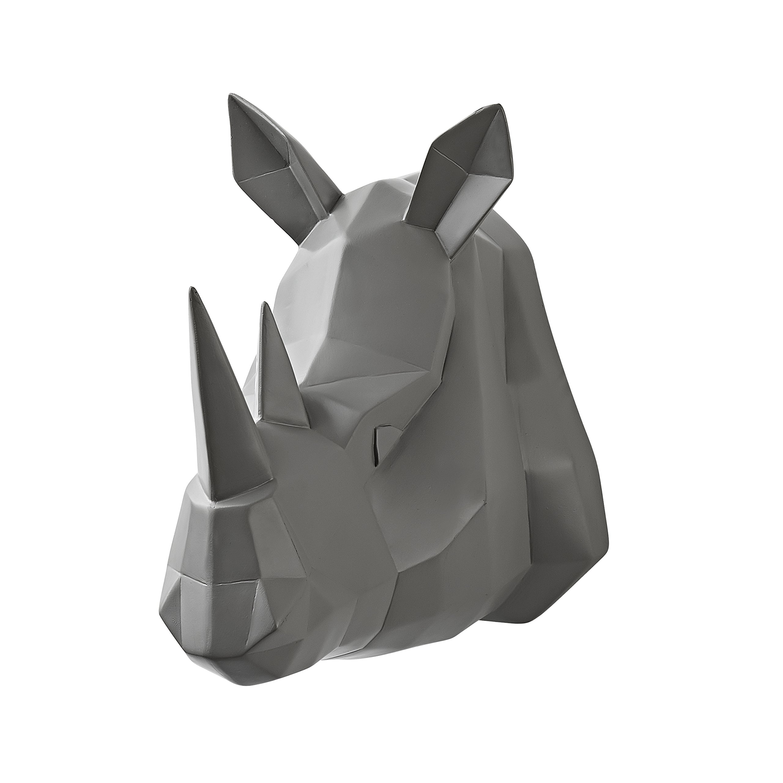 Vistella 3D Rhino Head Wall Art Decor - Modern Origami Wall Mountable Resin Animal Head - Multi Tone Digital Pixel Design - Home Indoor Abstract Decorative Sculpture