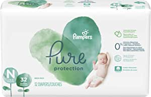 Diapers Newborn/Size N (>10 lb), 32 Count - Pampers Pure Protection Disposable Baby Diapers, Hypoallergenic and Unscented Protection, Mega Pack (Old Version)