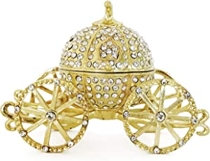 VI N VI Princess Cinderella Silver Crystal Gold Pumpkin Carriage Trinket Box, Jewelry Box/Hand Painted Collectible Figurine and Decorative Jewelry Display, Holder, and Organizer