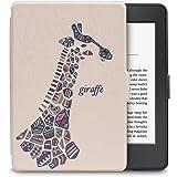 WALNEW Amazon Kindle Paperwhiteカバー キンドルペーパーホワイト専用ケース  キリンの絵 素材クリア  最も薄く、最軽量の保護 レザーケース マグネット機能搭載,キリン