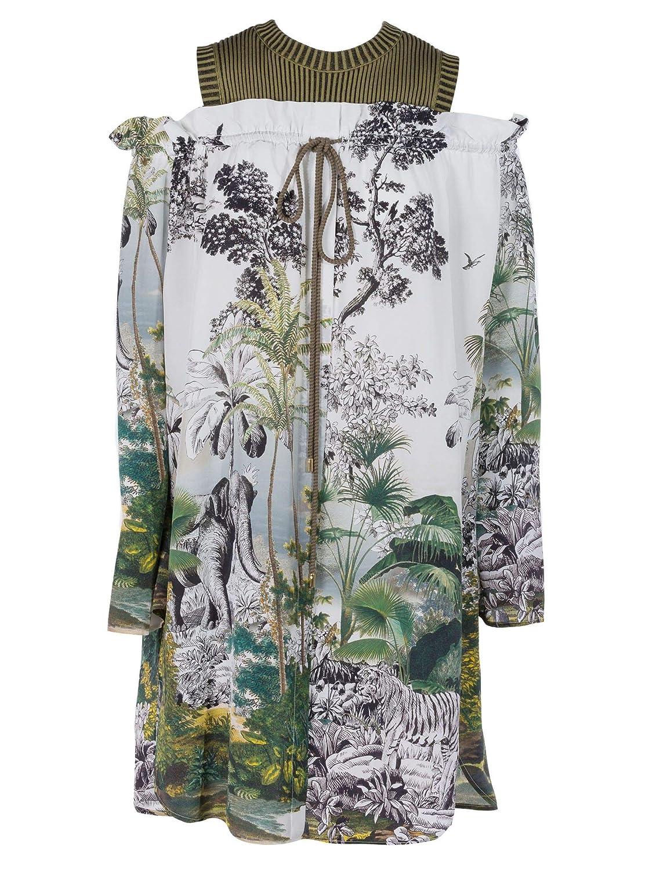Alberta Ferretti Women's A047816441484 White Green Silk Dress