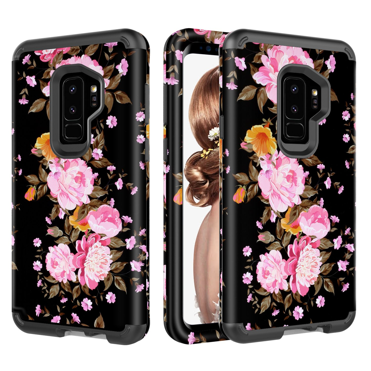 Amazon com: Galaxy S9 Plus Case, UZER Flower Series Shockproof 3 in