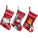 """Sea Team 17.7"""" Large Size Vintage Handcrafted Christmas Stocking Gift & Candy Pouch Bag with Stereo Festive Characters, Set of 3"""