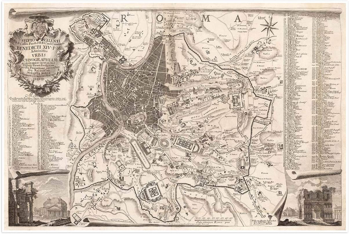 Antiguos Maps - Map of Ancient Rome, Italy by Giovanni Battista Nolli Circa 1748 - Measures 24 in x 36 in (610 mm x 915 mm)