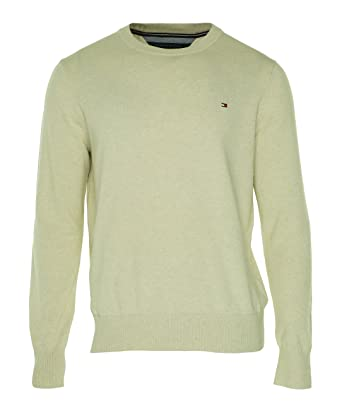 Tommy Hilfiger Mens Pima Cotton Crew Neck Pullover Sweater Beige L ...