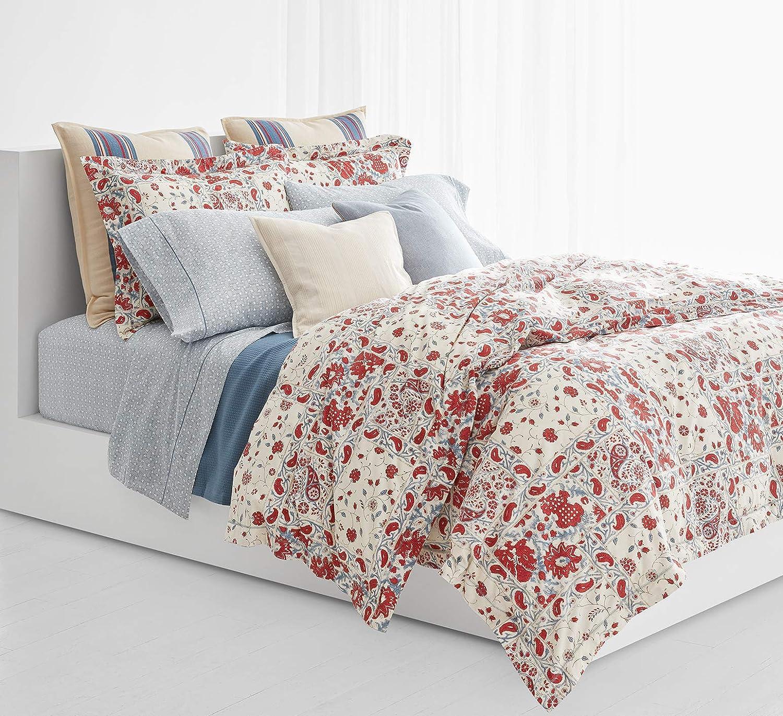 Ralph Lauren Kelsey 3 Piece Comforter Set, Red and Light Blue Floral Paisley, (King)