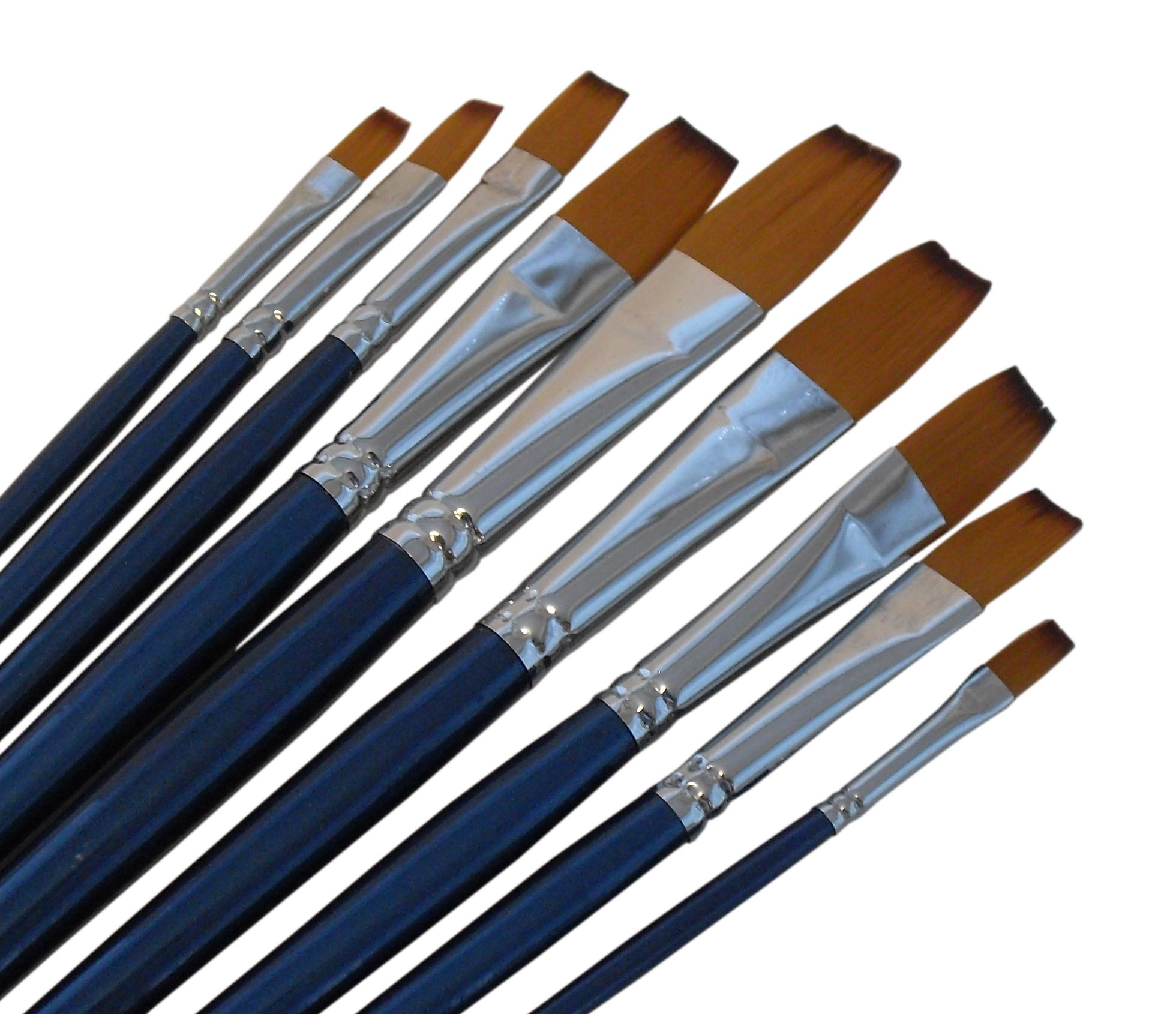 Artist Paint Brushes - F - Quality Black Tip, Golden Nylon, Long Handle, Flat Paint Brush Set - Ideal for Watercolor Painting and Gouache Painting, and Equally Useful for Acrylic and Oil Painting by Magic Touches Making Life Magical