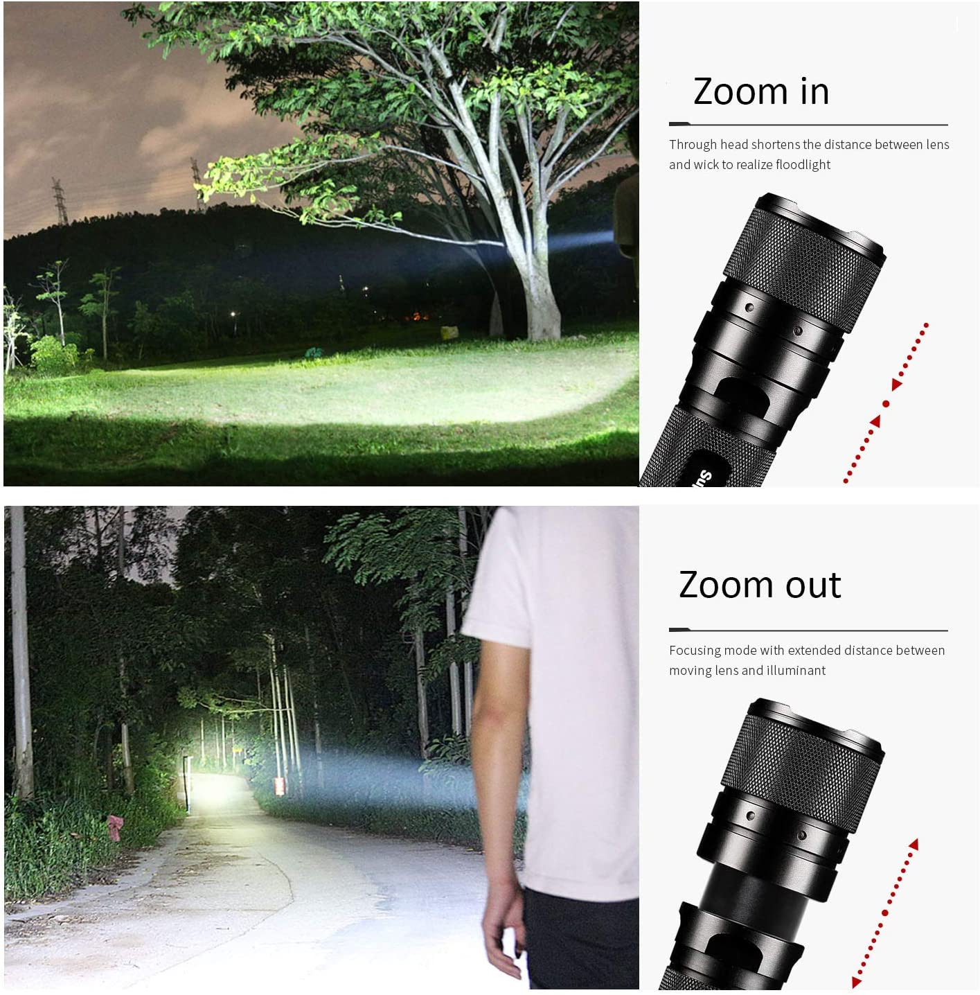 600 Lumens Zoomable Tactical Flashlight,Cree Led Torch Compatible with 18650 and AAA Battery Ultra Bright Waterproof Small Flashlight Perfect for Hiking Camping Outdoors
