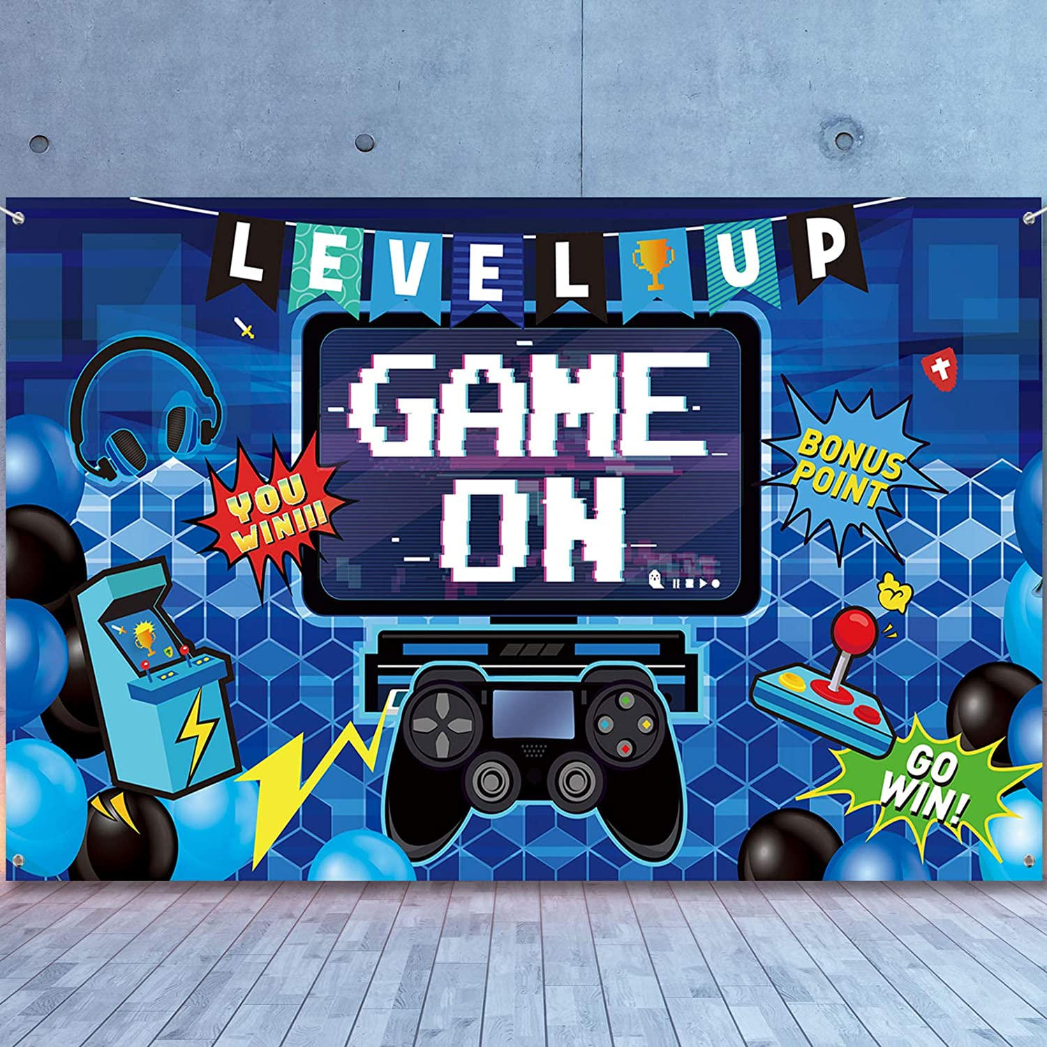 Video Game Party Decoration Video Gaming Photo Backdrop Background Birthday Photo Banner Gamer Room Decor for Game Fans Video Gamer Party Decoration Supplies, 70.9 x 43.3 Inch