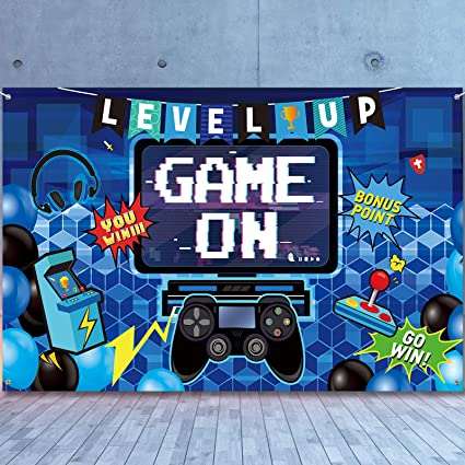 Video Game Party Decoration Video Gaming Photo Backdrop Background Birthday Photo Banner Gamer Room Decor For Game Fans Video Gamer Party Decoration Supplies 70 9 X 43 3 Inch Amazon Co Uk Kitchen Home