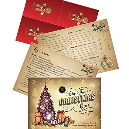 Christmas Trivia Questions.Christmas Quiz Pub Quiz Style 30 Question Christmas Trivia Up To 8 Teams Or Players In Cello Bag Postcard Sized Secret Santa Gifts Christmas