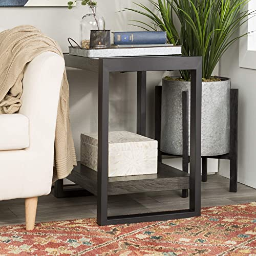 Walker Edison Furniture Company Industrial Wood End Side Accent Table Living Room, Charcoal