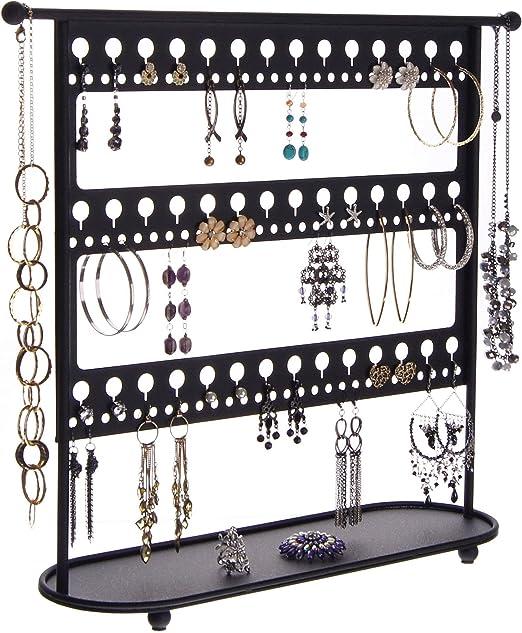 Amazon Com Angelynn S Large Dangle Hoop Earring Holder Big Earrings Jewelry Organizer Tree Hanging Display Case Stand Storage Rack Laela Black Home Kitchen
