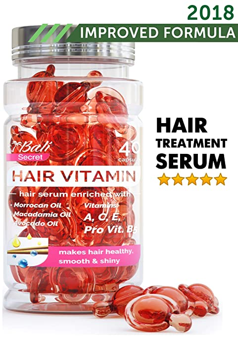 Hair Treatment Serum by Bali Secret – 2018 Improved Formula – No Need to Rinse – with Argan Macadamia Avocado Oils – Vitamins A C E Pro Vitamin B5 – Best Women Hair Oil Conditioner for All Hair Types