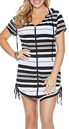 effcc6060c5 Dotti Horizontal Striped Hoodie Tunic at Amazon Women's Clothing store: