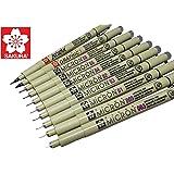 Sakura Pigma Micron Artist drawing pens (003, 005, 01, 02, 03, 04, 05, 08), Graphic 1 & brush fineliner pen set (Asst, 10 pct set, black)