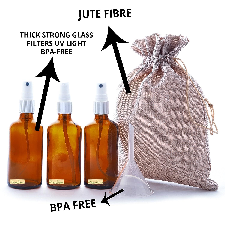5 piezas frasco de vidrio ámbar Bomba de spray + Loción 50 ml Set by nomara Organics. Incluye 2 x 50 ml botellas de cristal ámbar con bomba atomizador Mist ...