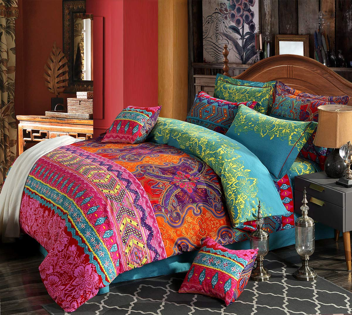 HNNSI 4 Pieces Bohemia Ethnic Bedding Sets King Size,Brushed Cotton Boho Duvet Cover Set with Flat Sheet, Super Comfy Comforter Cover Sets,No Comforter(Flat Sheet Set, King)