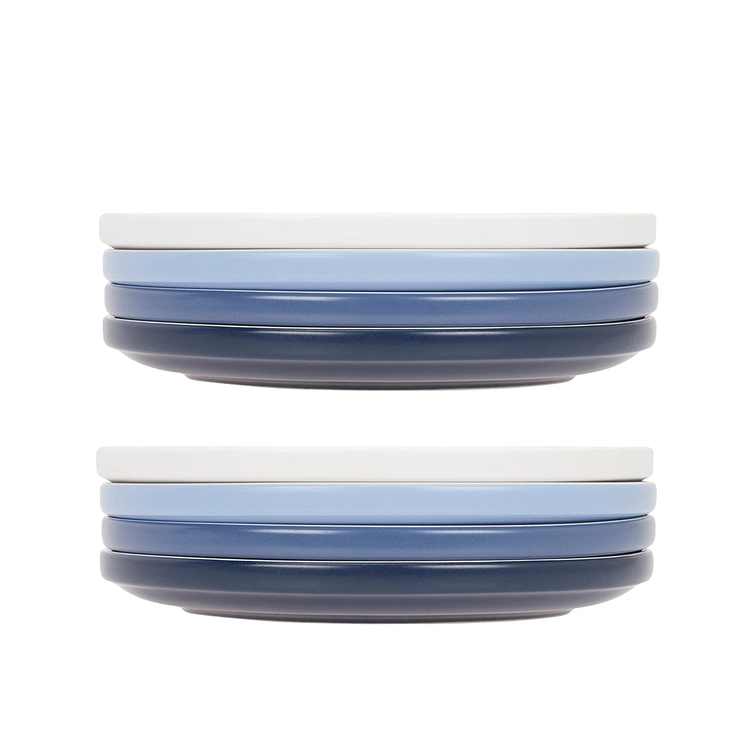 Compact Living - Stackable Stoneware Side Plates - White Light/Mid/Dark Blue - 20.5 cm/7'9 in - Set of 8