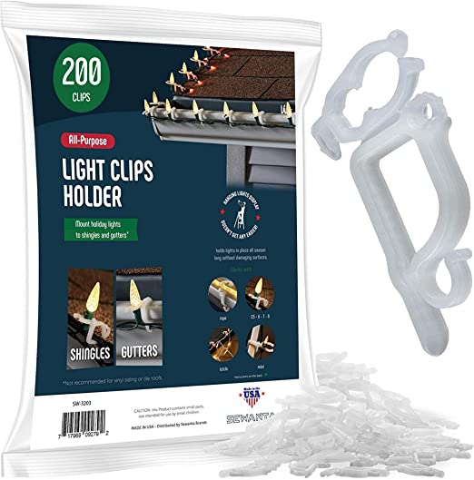 25 ct All-Purpose Christmas Light Clips Gutter Shingle Mini Rope LED C7 C9