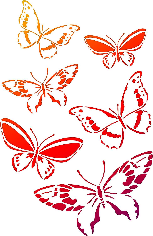"Viva Decor Butterfly Swarm Universal Stencil, 8.27"" x 11.69"""