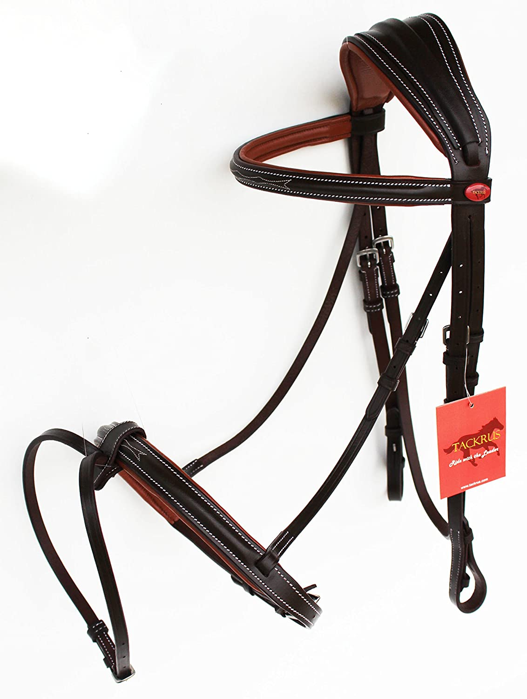 Horse英語パッド入りレザーCOB Riding Raised調節可能フラッシュBridle Reins 803443 C  Brown/Light Brown B077VNY5NZ