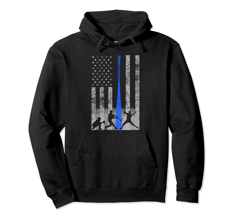 American Baseball Flag Hoodie - Players and Blue Bat-mt